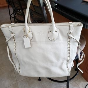 Coach White bag with gold trim